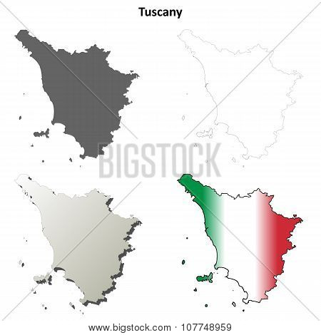 Tuscany blank detailed outline map set