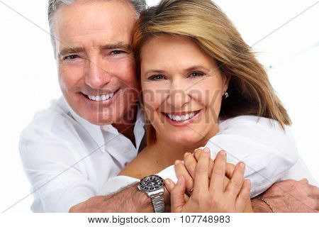 Happy laughing elderly couple isolated white background.