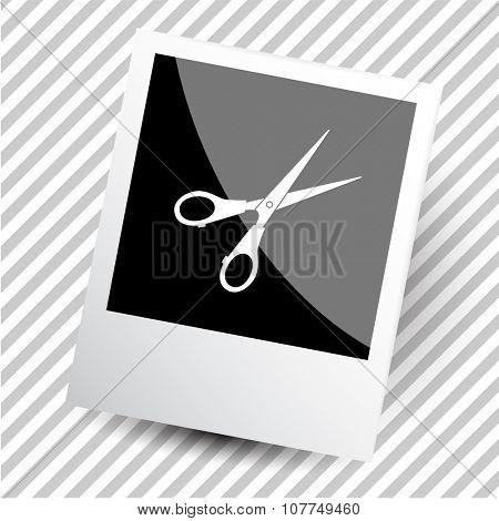 scissors. Photoframe. Raster icon.
