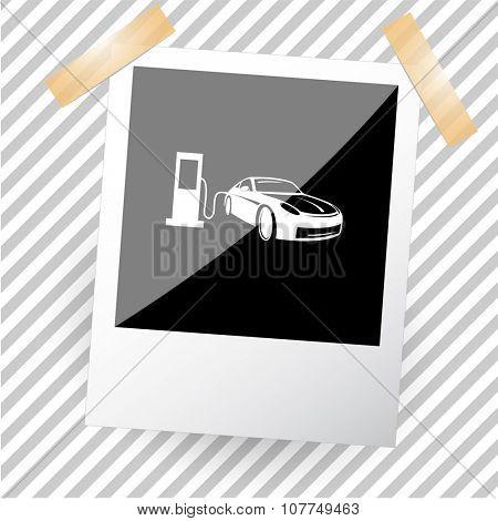 car fueling. Photoframe. Raster icon.