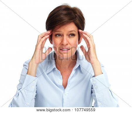 Tired business woman with a headache migraine isolated white.
