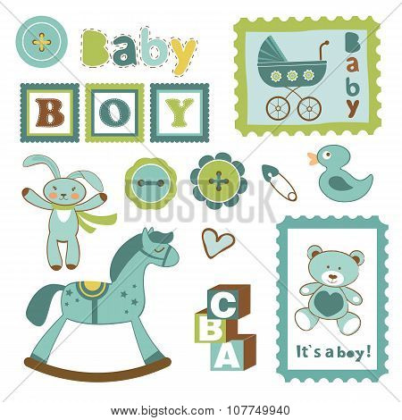 Colorful collection of baby boy announcement postal stamps