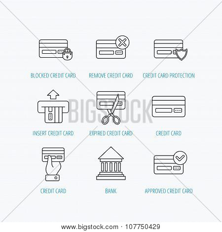 Bank credit card icons. Banking signs.
