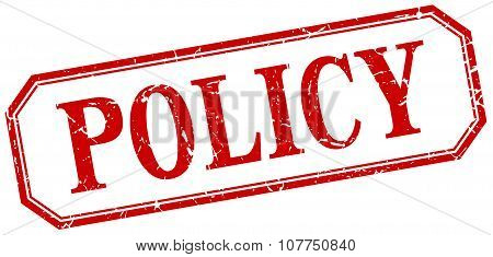 Policy Square Red Grunge Vintage Isolated Label
