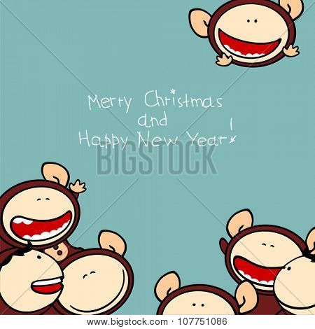 Merry Christmas and Happy New Year 2016 card with cute naughty Monkeys