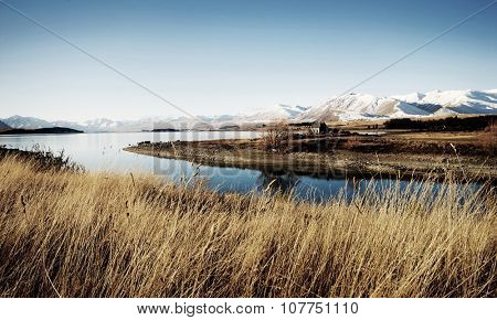 Cottage Rural Scene Mountain Lake Countryside Concept