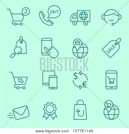 Shopping  and e-commerce icons, thin line style