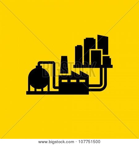 Heating city system vector icon