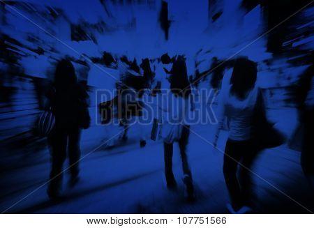 Pedestrian Walkway Crosswalk Crowded Consumerism Concept