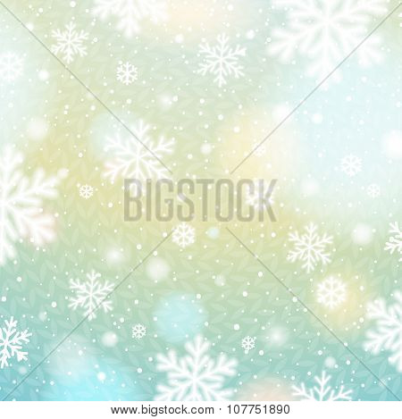 Light Background With Bokeh And Blurred Snowflakes, Vector