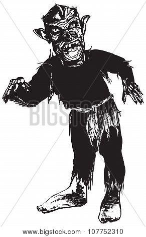 Black Zombie, Vector Illustration.