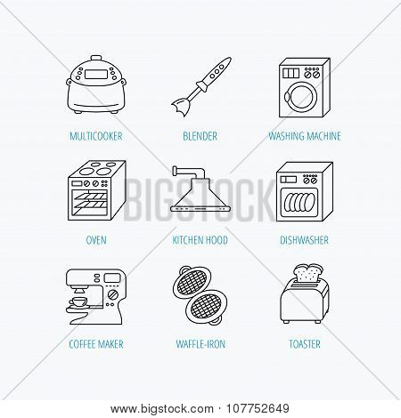 Dishwasher, washing machine and blender icons.