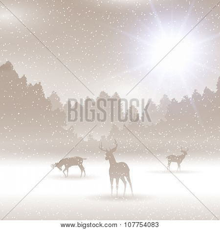 Christmas winter landscape with silhouettes of deer