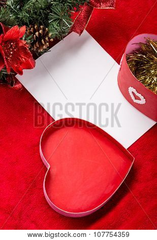 Christmas Greeting Card whith red heart.