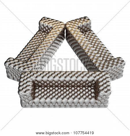 Sofa Leather Pattern Silver
