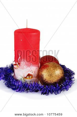 Christmas Decoration With Two Balls And Candle On White