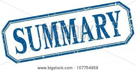 Summary Square Blue Grunge Vintage Isolated Label