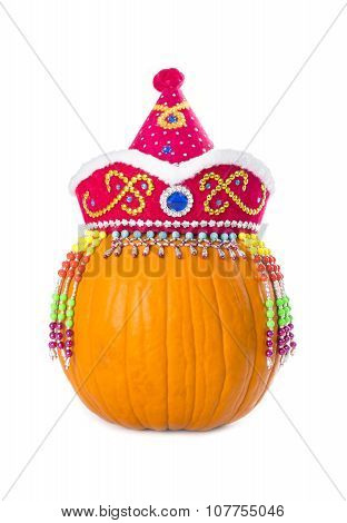 Pumpkin Wearing Colorful Ethnic Hat Isolated on White