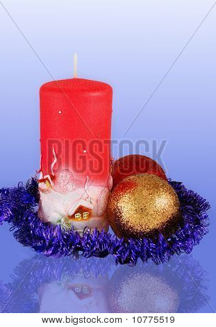 Christmas Decoration With Two Balls And Candle