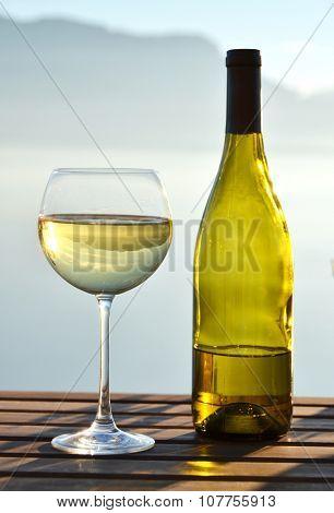 Wine against Geneva lake. Switzerland
