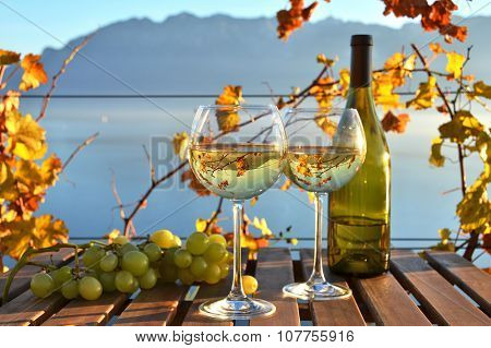 Wine and grapes against vineyards in Lavaux, Switzerland