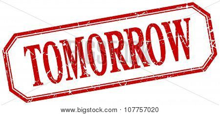 Tomorrow Square Red Grunge Vintage Isolated Label