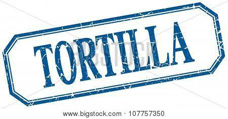 Tortilla Square Blue Grunge Vintage Isolated Label