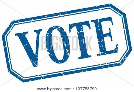Vote Square Blue Grunge Vintage Isolated Label