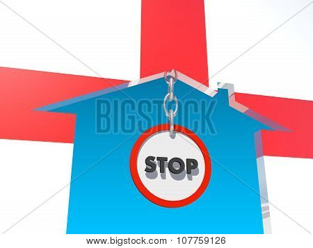road stop sign in home icon textured by england flag