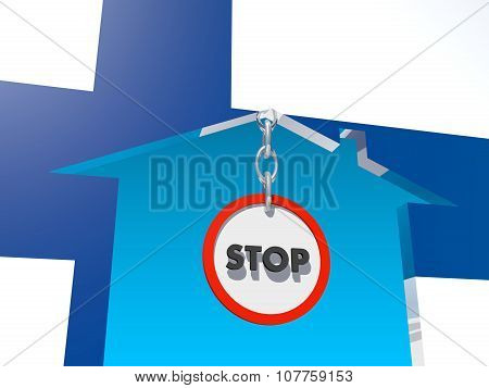 road stop sign in home icon textured by finland flag