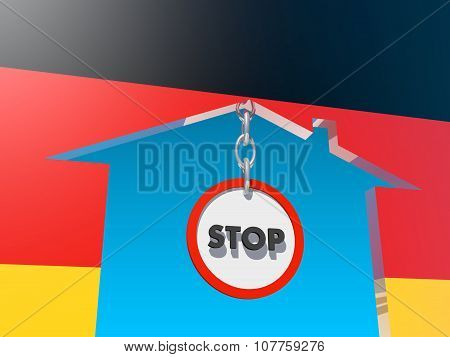 road stop sign in home icon textured by germany flag
