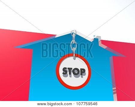road stop sign in home icon textured by poland flag
