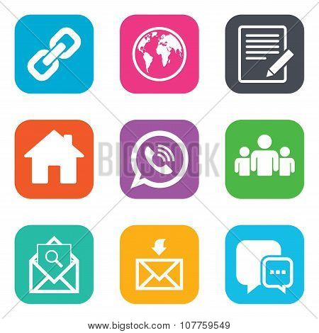 Communication icons. Contact, mail signs.
