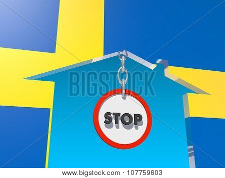 road stop sign in home icon textured by sweden flag