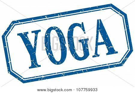 Yoga Square Blue Grunge Vintage Isolated Label