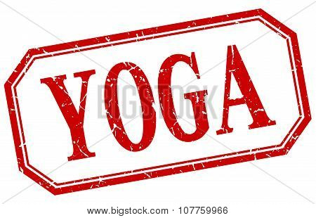 Yoga Square Red Grunge Vintage Isolated Label
