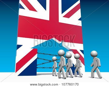 refugees go to home icon textured by great britain flag