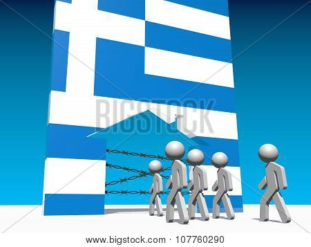 refugees go to home icon textured by greece flag