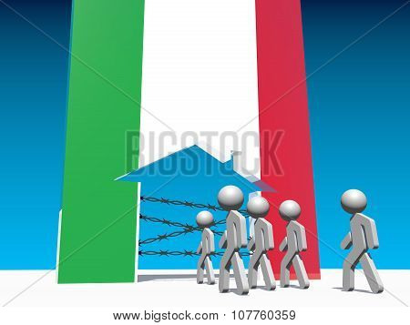 refugees go to home icon textured by italy flag