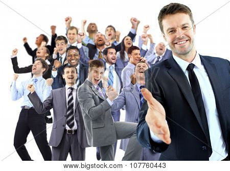 Happy business group. leader with open hand and ready to shake your hand