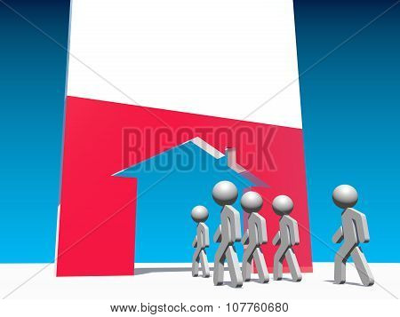 refugees go to home icon textured by poland flag