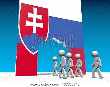 Humans go to home icon textured by slovakia flag