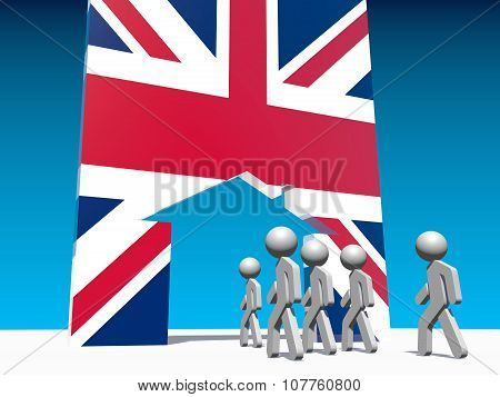 Humans go to home icon textured by great britain flag