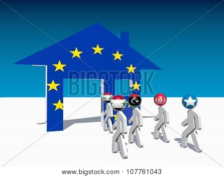 refugees go to home icon textured by europe flag