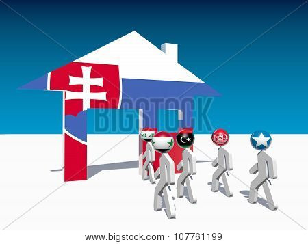 refugees go to home icon textured by slovakia flag