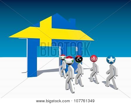 refugees go to home icon textured by sweden flag