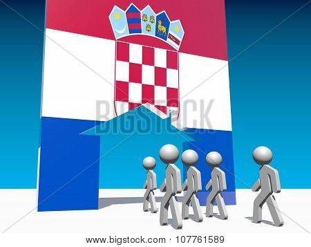 refugees go to home icon textured by croatia flag
