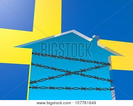 barbed wire closed home icon textured by sweden flag