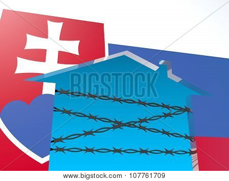 barbed wire closed home icon textured by slovakia flag
