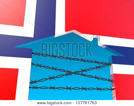 barbed wire closed home icon textured by norway flag